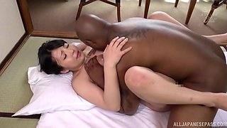 Black dude with a giant dick fucks tight pussy of Maru Chikako