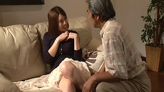 Old guy enjoys fucking his younger wife Riko Honda - compilation