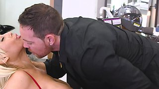 Hot blonde secretary is banging It guy in the office