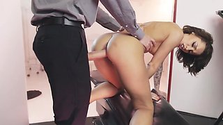 Anus of girl with tattooed hand is stretched by doctor's big cock