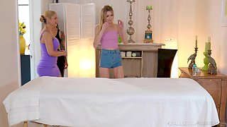 Horny masseuse Katrina Jade is teaching assistant how to give an intimate massage