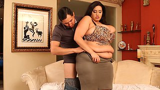 Busty big breasted Latina gets rammed by young stud
