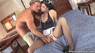 Sexy french maid Stracy Stone pleasures muslced dude