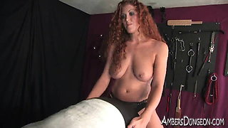 Sabrina Fox fries his balls and fucks his ass in bondage