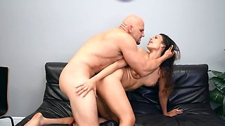 Latina teacher nailed by bald principal on the leather couch