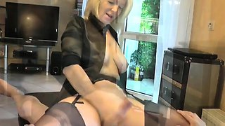 Busty blonde cougar in stockings teases and pleases a cock