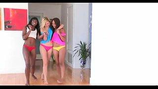 Three sweet dykes in interracial threesome fun