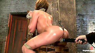 Amy Brooke has her amazing gaping ass fucked & hooked. Made to cum & squirt so hard her ass rosebuds