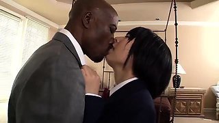 Pretty Japanese schoolgirl satisfies her interracial lust