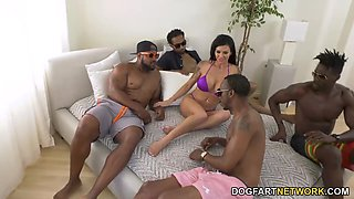 PAWG girlfriend Melissa Lynn is fucked by several black dudes