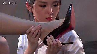 Asian chinese pantyhose feet nylon