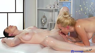 Exclusive oral fun during massage for two supreme lesbians