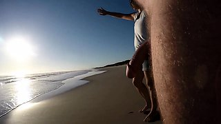 Nude amateur guy exposes his thick meat pole on the beach