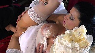 Sexy bride Romi Rain fucks a huge cock covered in wedding cake