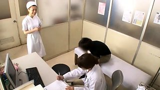 Naughty Asian doctors and nurses satisfy their lust for cock