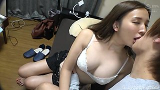 Passionate fucking on the bed with cute Japanese neighbor Ogata Elena