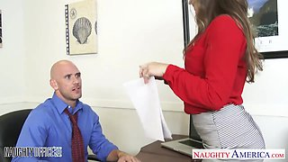 Beautiful secretary babe Dani Daniels is fucked by bald headed boss Johnny Sins