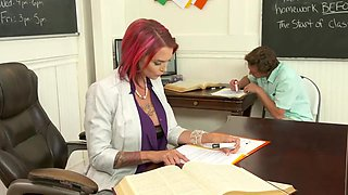 Pink haired teacher, Anna Bell Peaks is sucking her student's dick, while kneeling on the floor