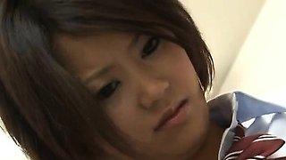 Miku Misato in school uniform gets cocks deepthroat and cum