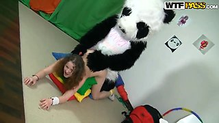 Horny Anja sucks a dildo strap on then rides on it
