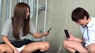 Teenage asians in highschool uniforms urinate