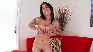 Depraved babe with pierced nipples masturbates on camera