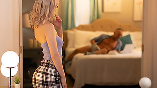 Jamie Jett catches her friend's dad masturbating and now she wants that cock in her pussy!!!