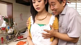Asian brunette gets tits teased