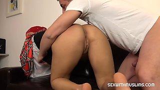 Beautiful secretary with huge boobs fucked hard at boss house