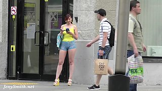 Jeny Smith walks in public with transparent shorts. Real flashing moments