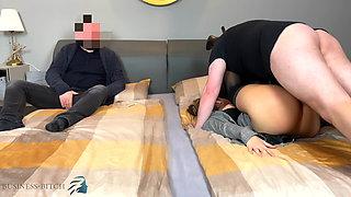Threesome sex meeting - intern fucks boss, business-bitch