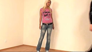 Kinky amateur blonde gets oiled up for latex suit