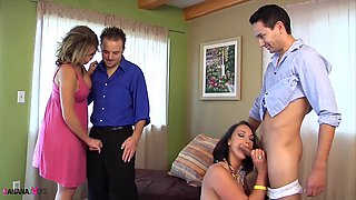 Nikki Sexx and Nicki Hunter force a dude to swallow cum in a foursome